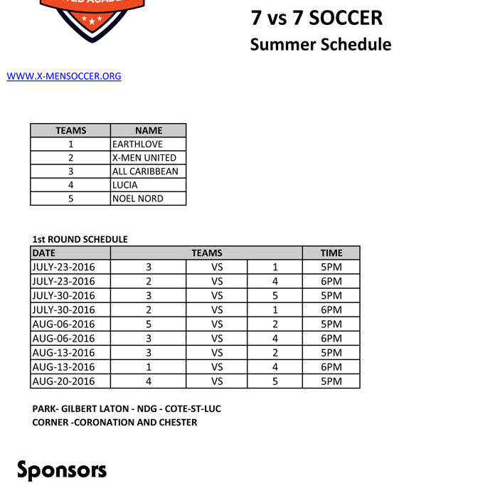 Summer 7 vs. 7 Soccer League  opens on July 23