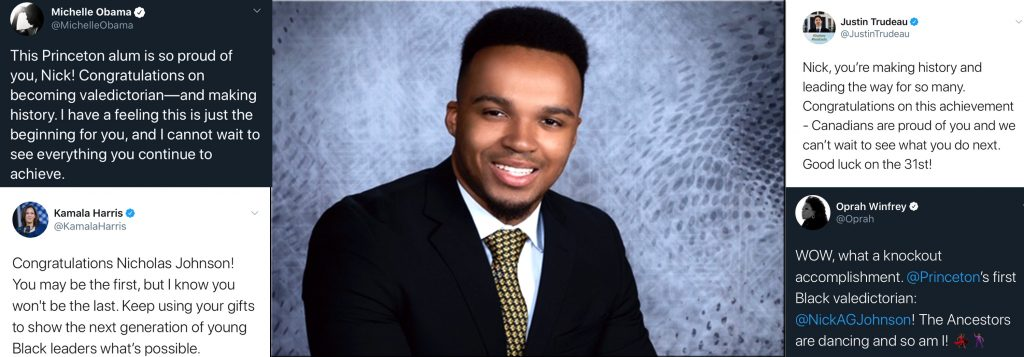 """Princeton's first Black valedictorian Nicholas Johnson: """"in love with learning"""""""